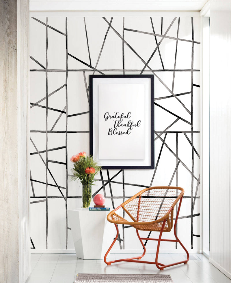 Watercolor Abstract Modern Lines Accent Mural Wall Art Wallpaper - Peel and Stick