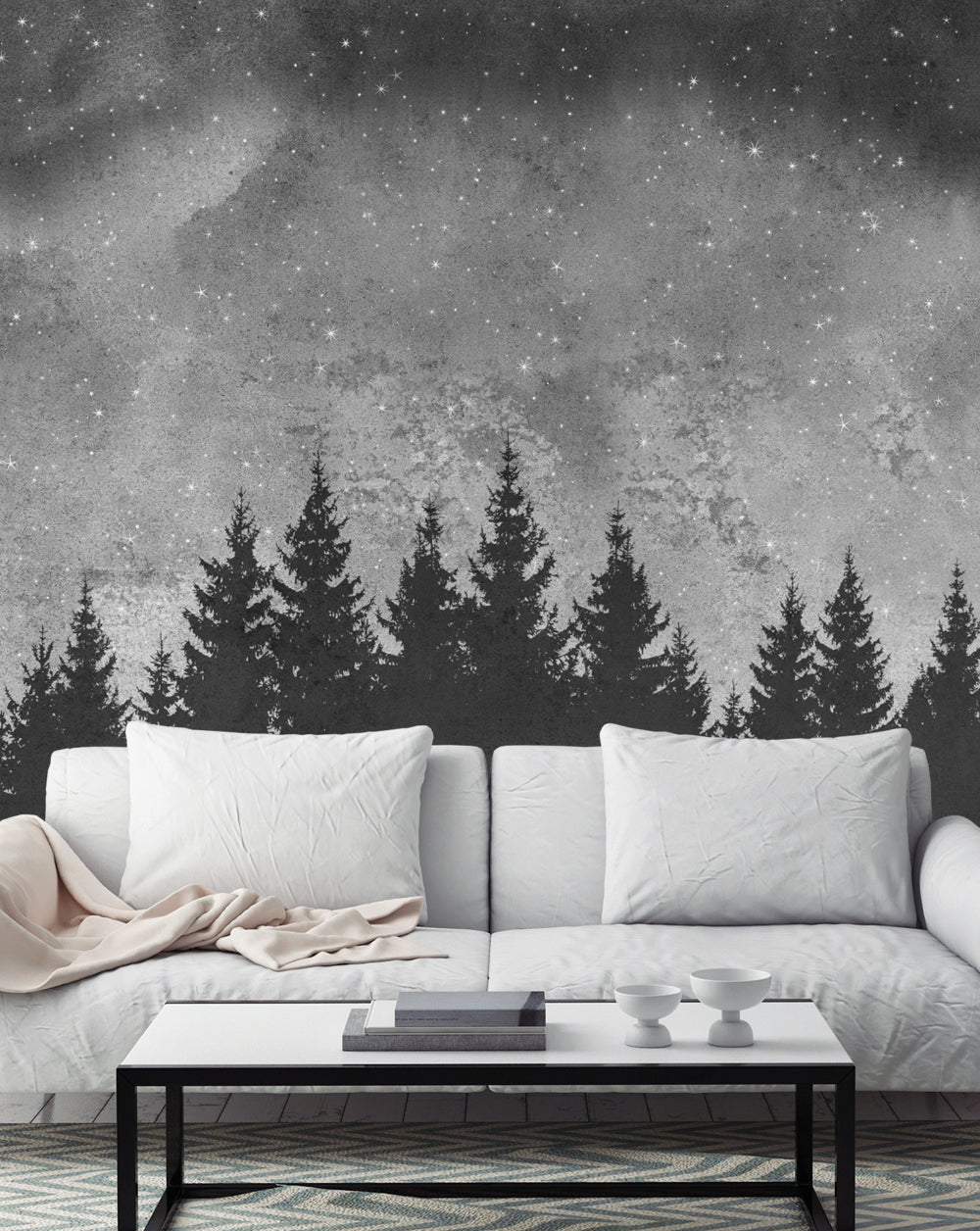 Forest Trees Night Scene Mural Wall Art Wallpaper - Peel and Stick