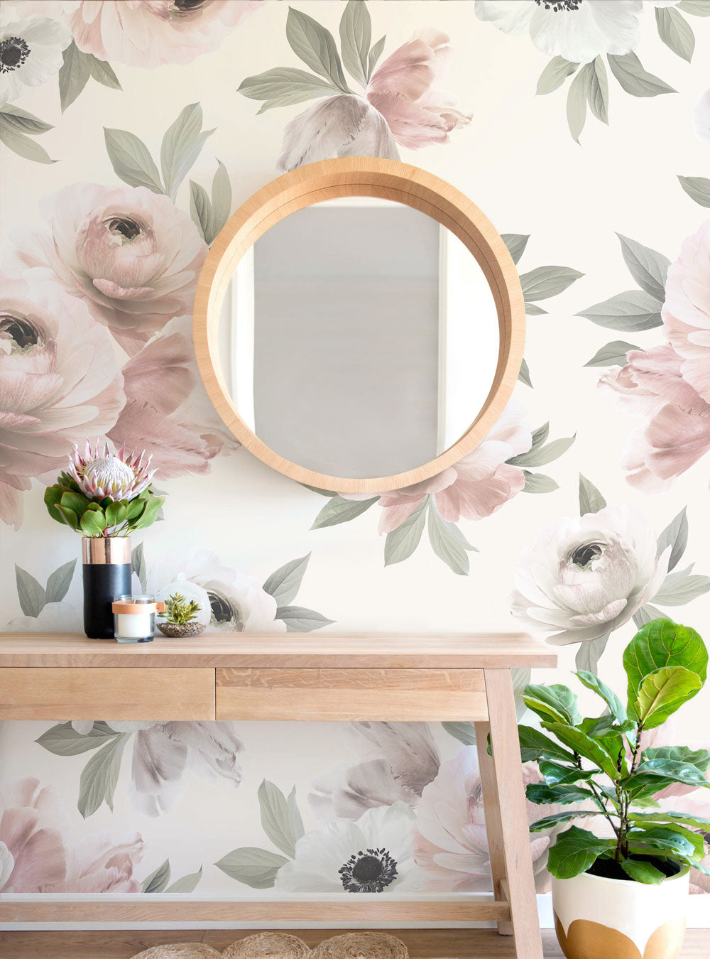 Floral Mural Wall Art Wallpaper - Peel and Stick