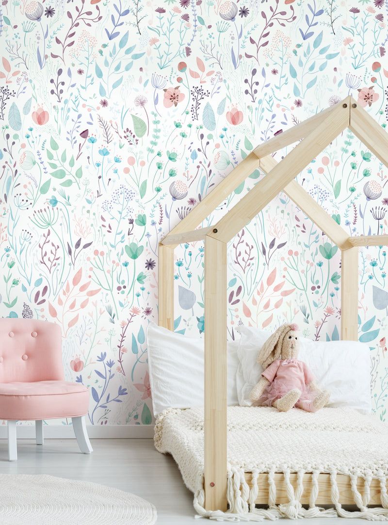 Wild Flowers Accent Mural Wall Art Wallpaper - Peel and Stick