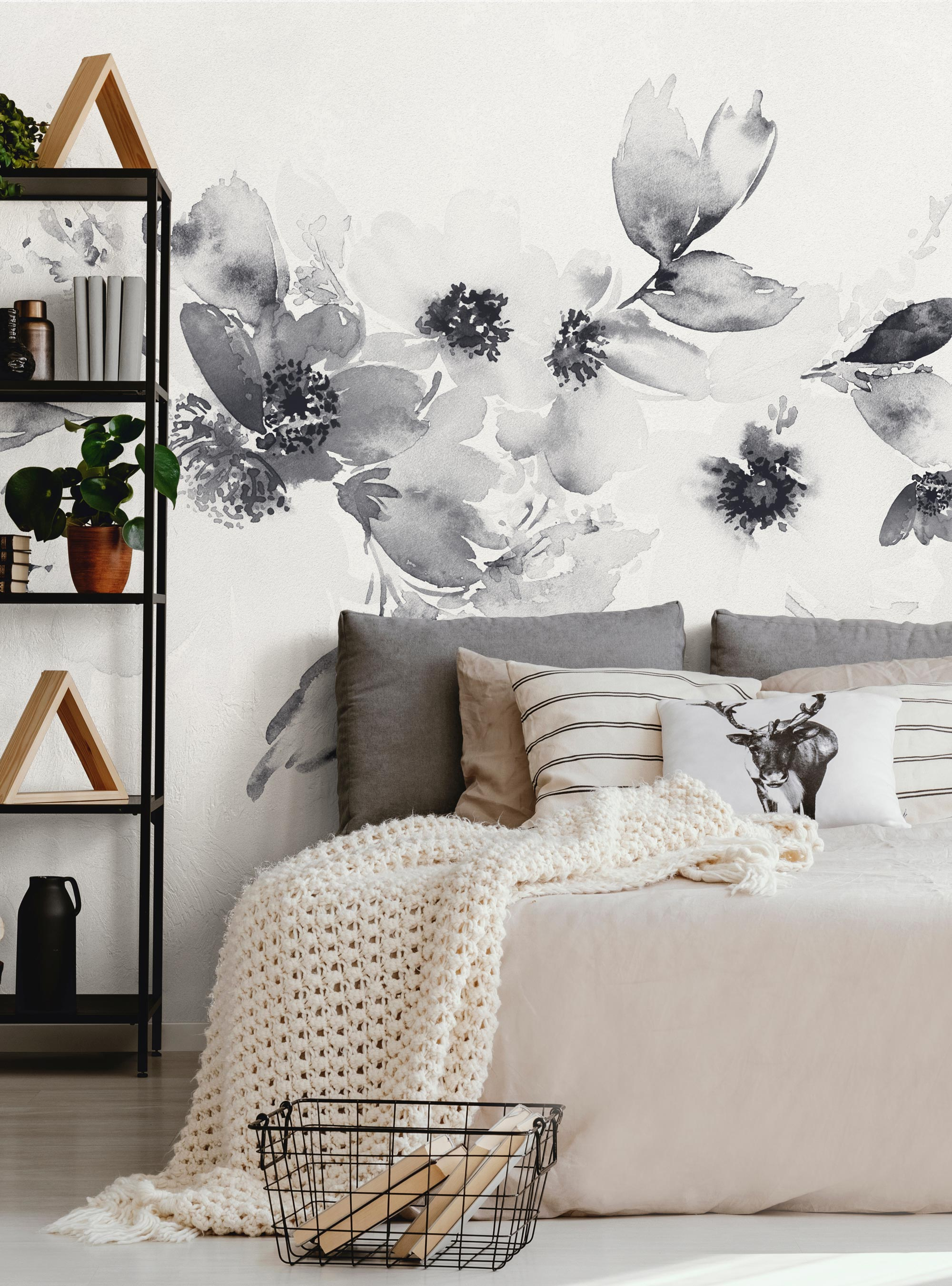 Watercolor Floral Band Mural Wall Art Wallpaper Peel And Stick