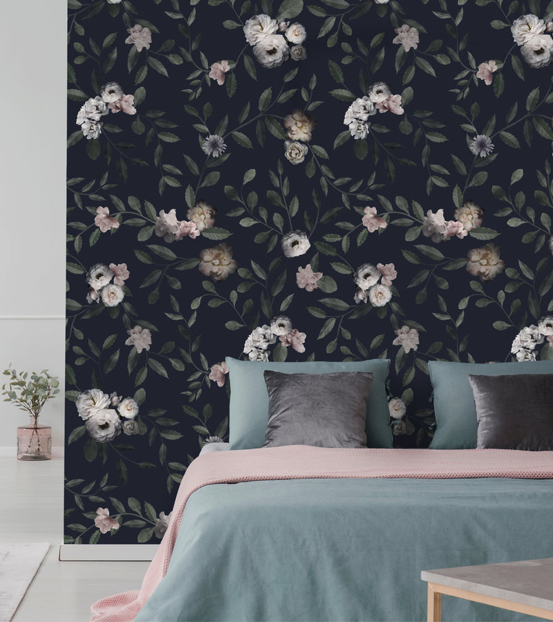 Dark Floral Mural Wall Art Wallpaper - Peel and Stick
