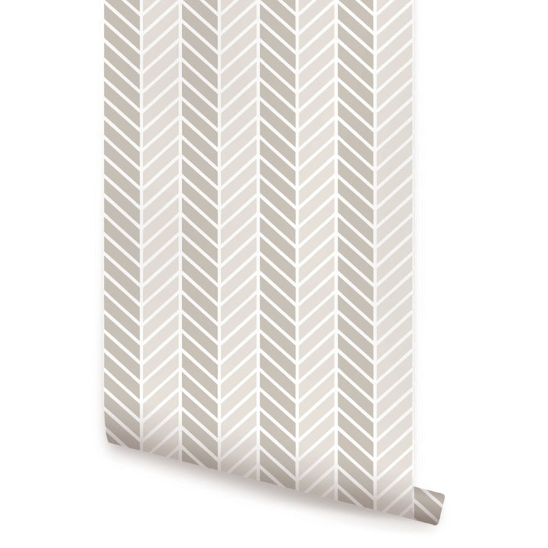 HERRINGBONE TWO TONE WALLPAPER - PEEL AND STICK
