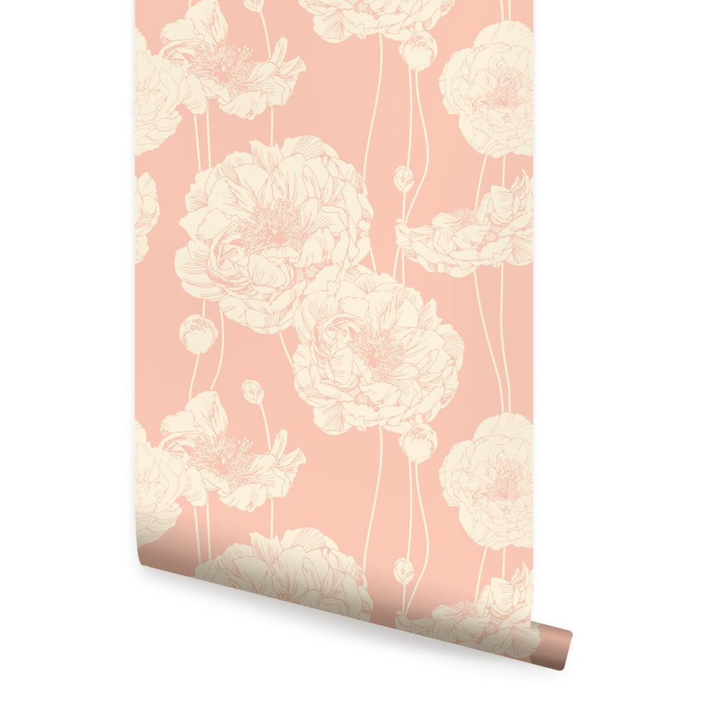 PEONY WALLPAPER - PEEL AND STICK