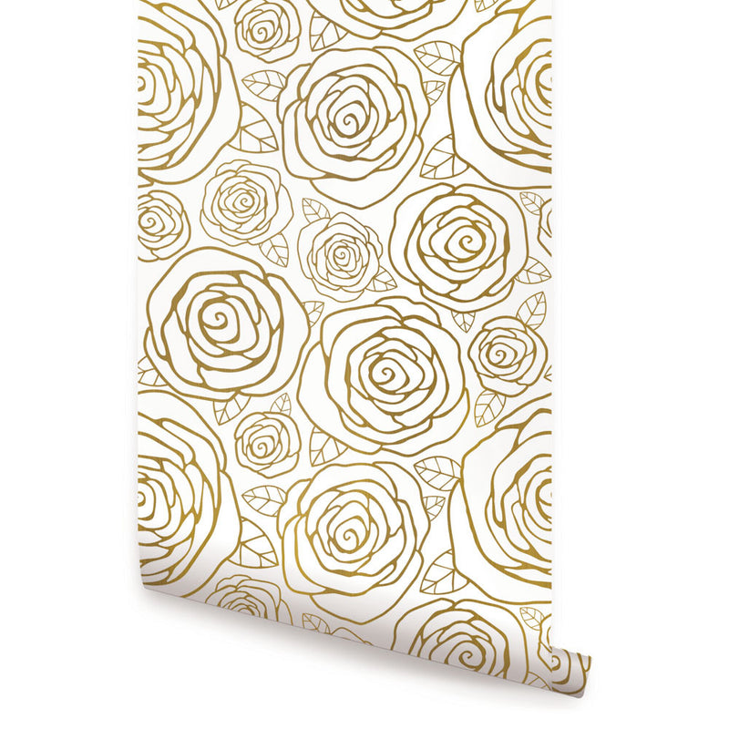 Gold Roses Wallpaper - Peel and Stick