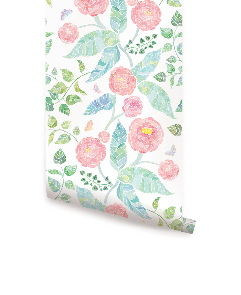 SPRING GARDEN FLOWERS WALLPAPER - PEEL AND STICK