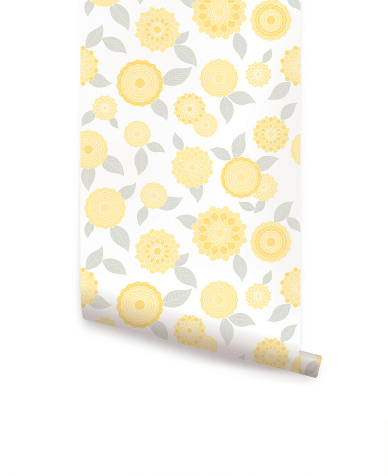 MODERN FLOWERS WALLPAPER - PEEL AND STICK