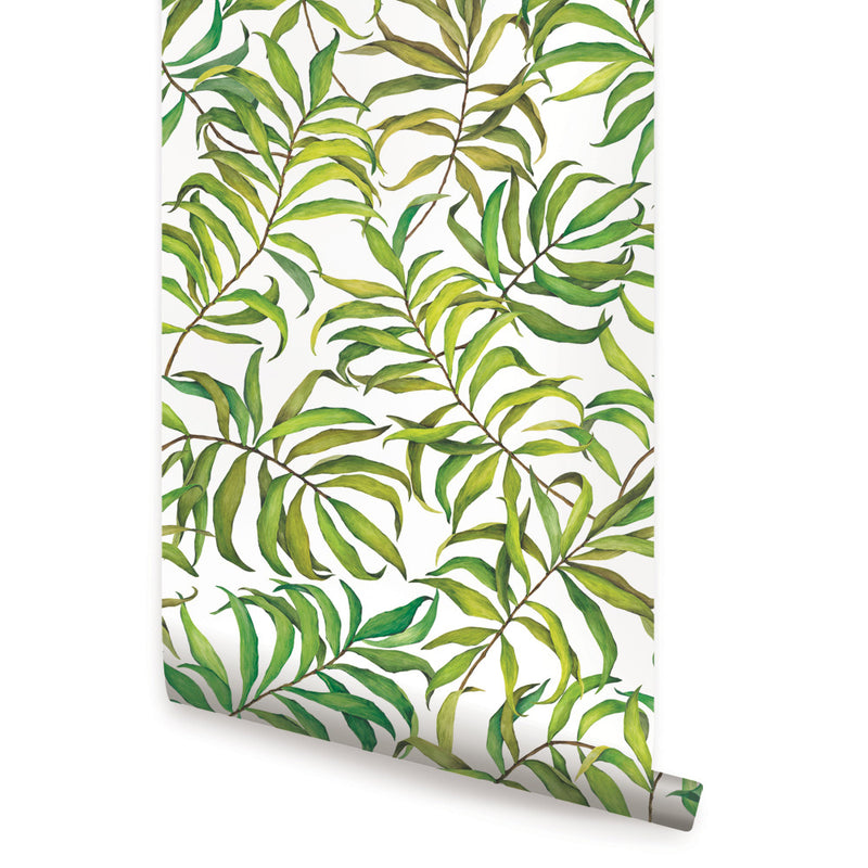 TROPICAL LEAVES WALLPAPER - PEEL AND STICK