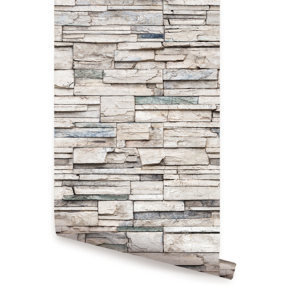 Faux Stone Wallpaper - Peel and Stick
