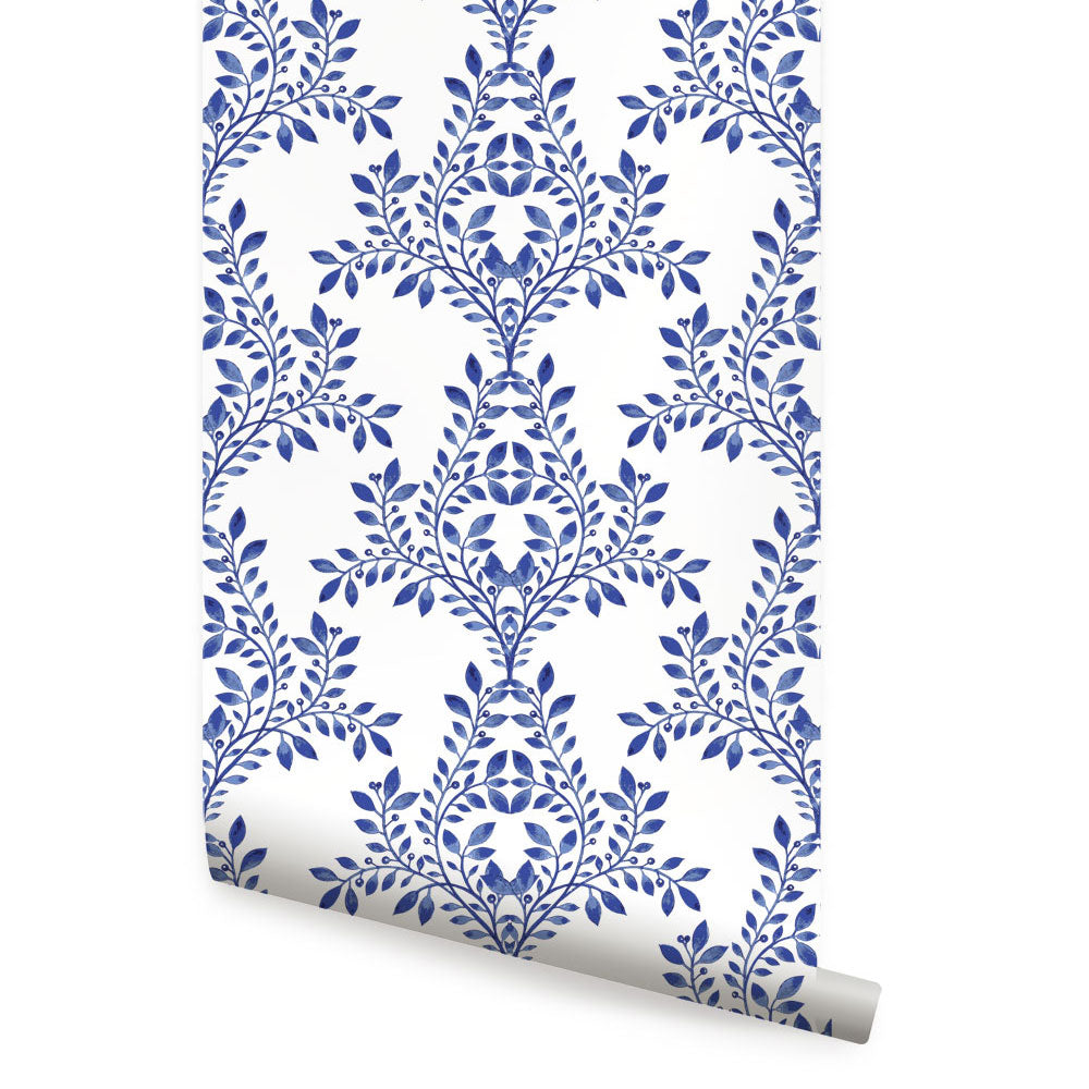 DAMASK LEAVES WALLPAPER - PEEL AND STICK