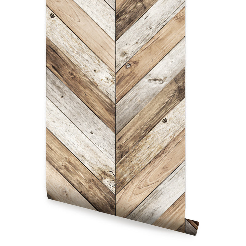 Chevron Wood Wallpaper- Peel and Stick