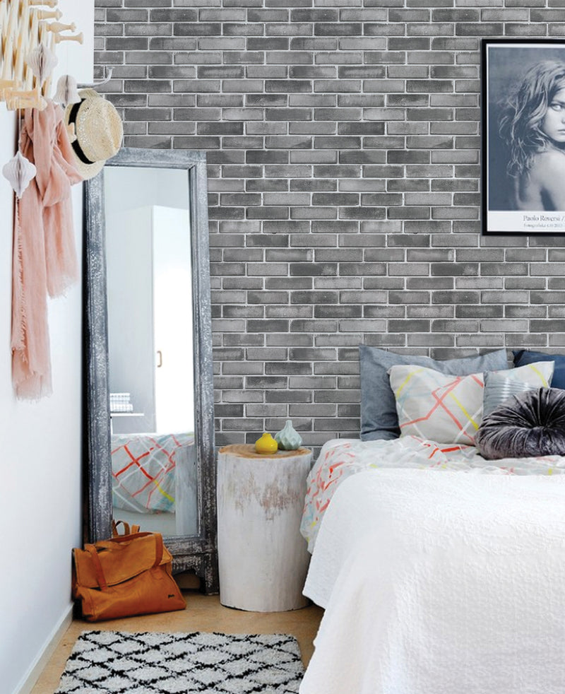 GREY CEMENT BRICK WALLPAPER - PEEL AND STICK WALLPAPER