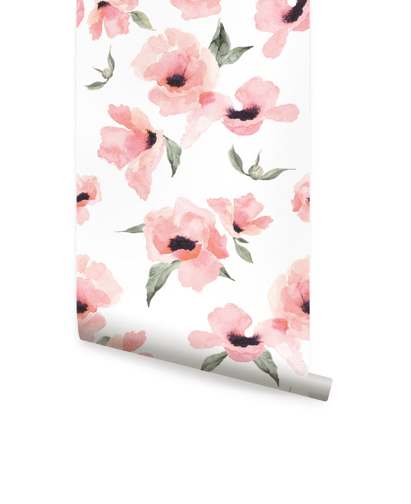 WATERCOLOR POPPY FLOWERS WALLPAPER - PEEL AND STICK