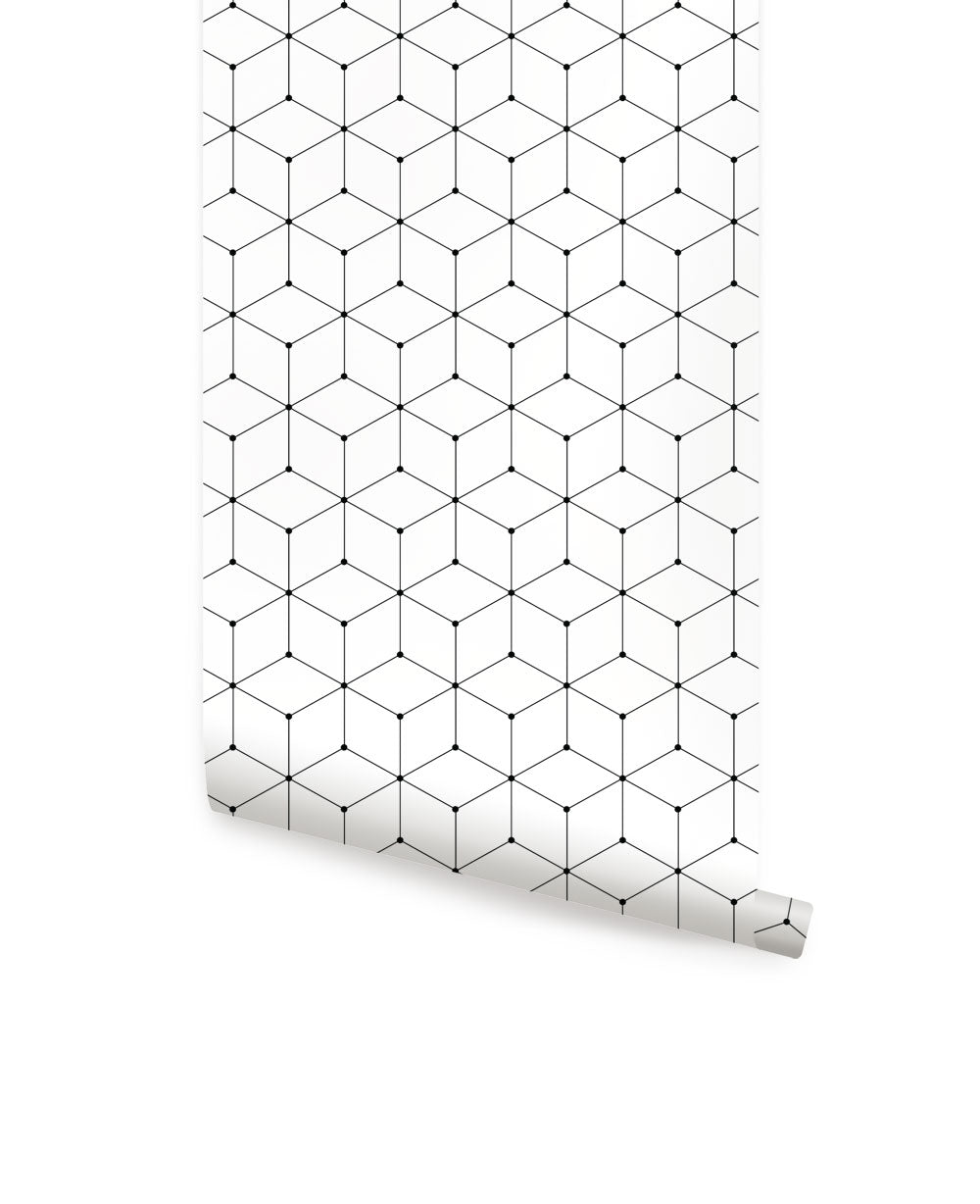 GEOMETRIC CUBE WALLPAPER - PEEL AND STICK WALLPAPER