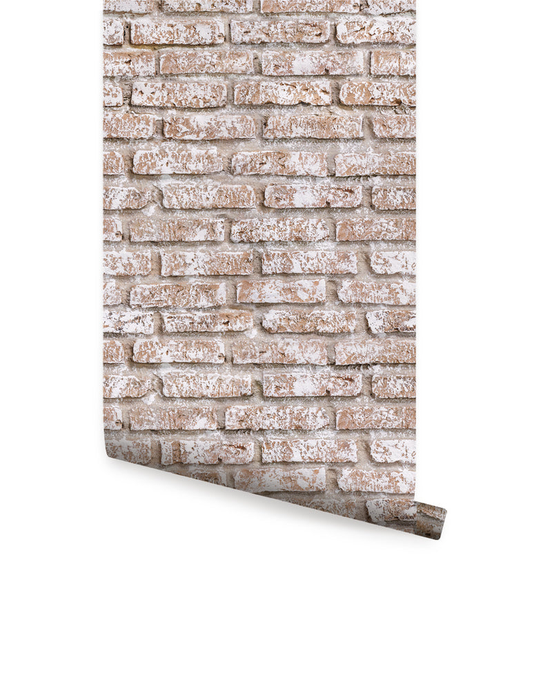 WHITEWASHED VINTAGE BRICK WALLPAPER - PEEL AND STICK WALLPAPER
