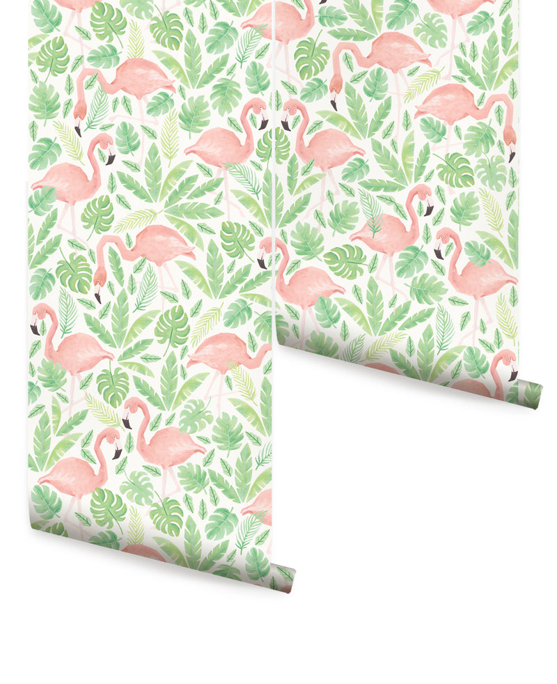 TROPICAL FLAMINGO - PEEL & STICK FABRIC WALLPAPER