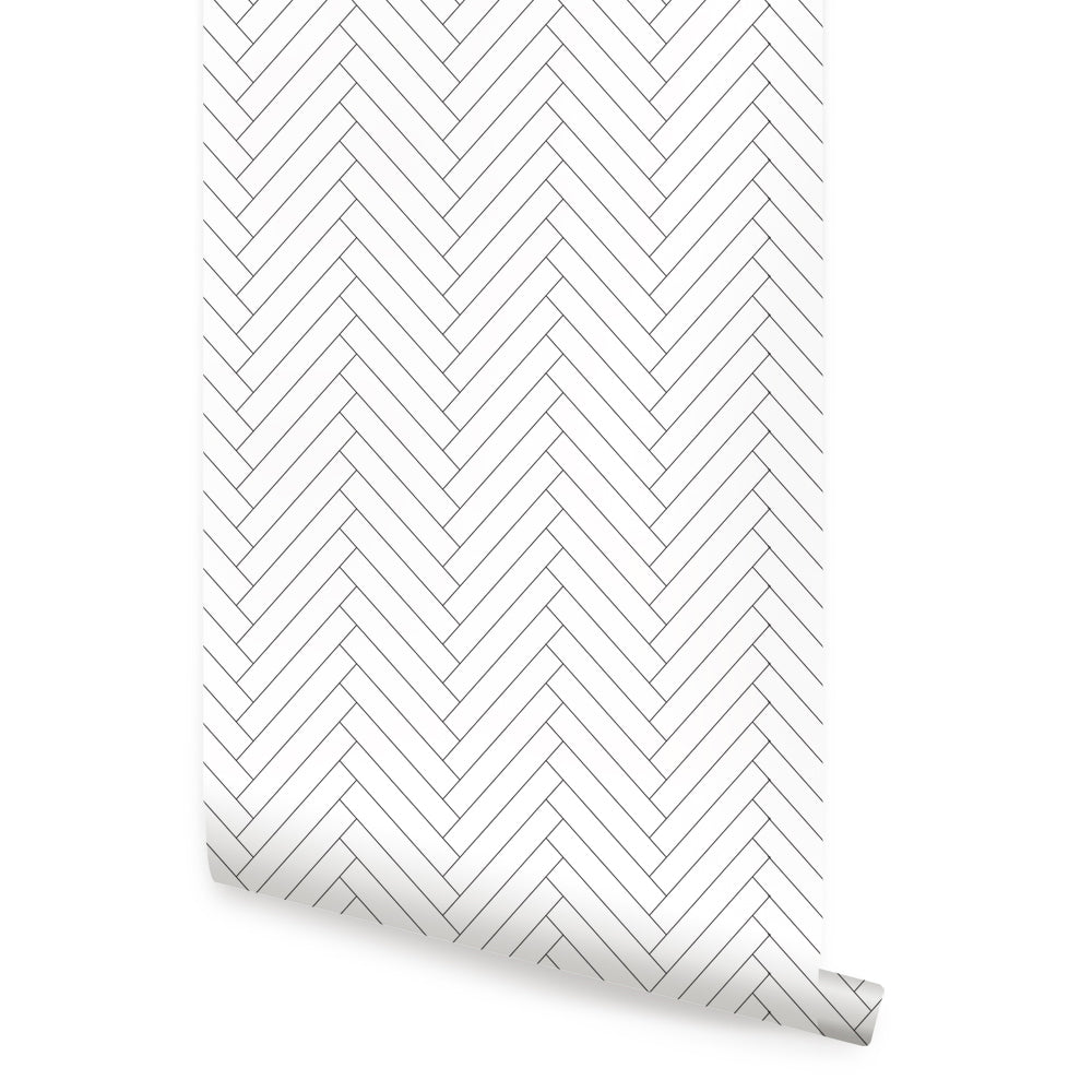 Herringbone Tile Pattern Wallpaper - Peel and Stick