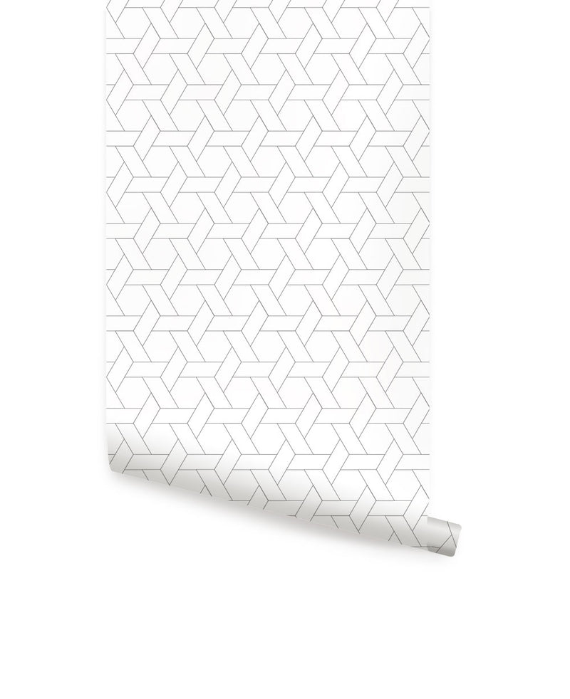 Hexagon Basket Weave Pattern Wallpaper - Peel and Stick