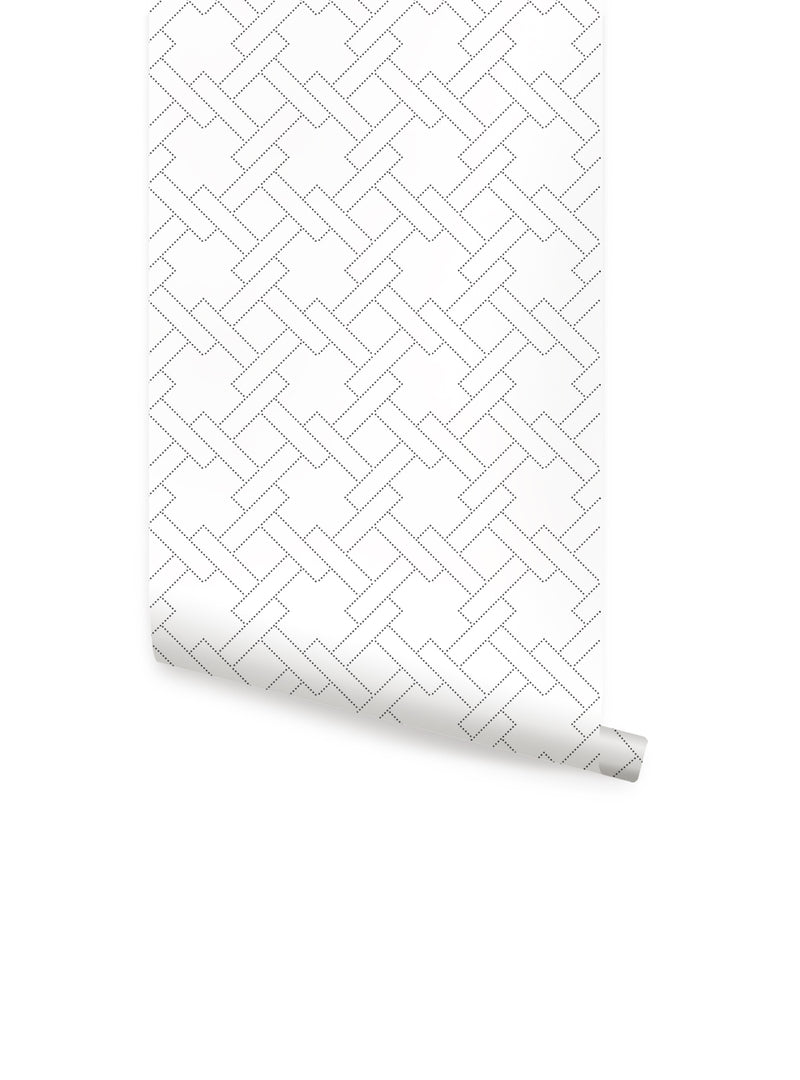 Square Links Geometric Pattern Wallpaper - Peel and Stick