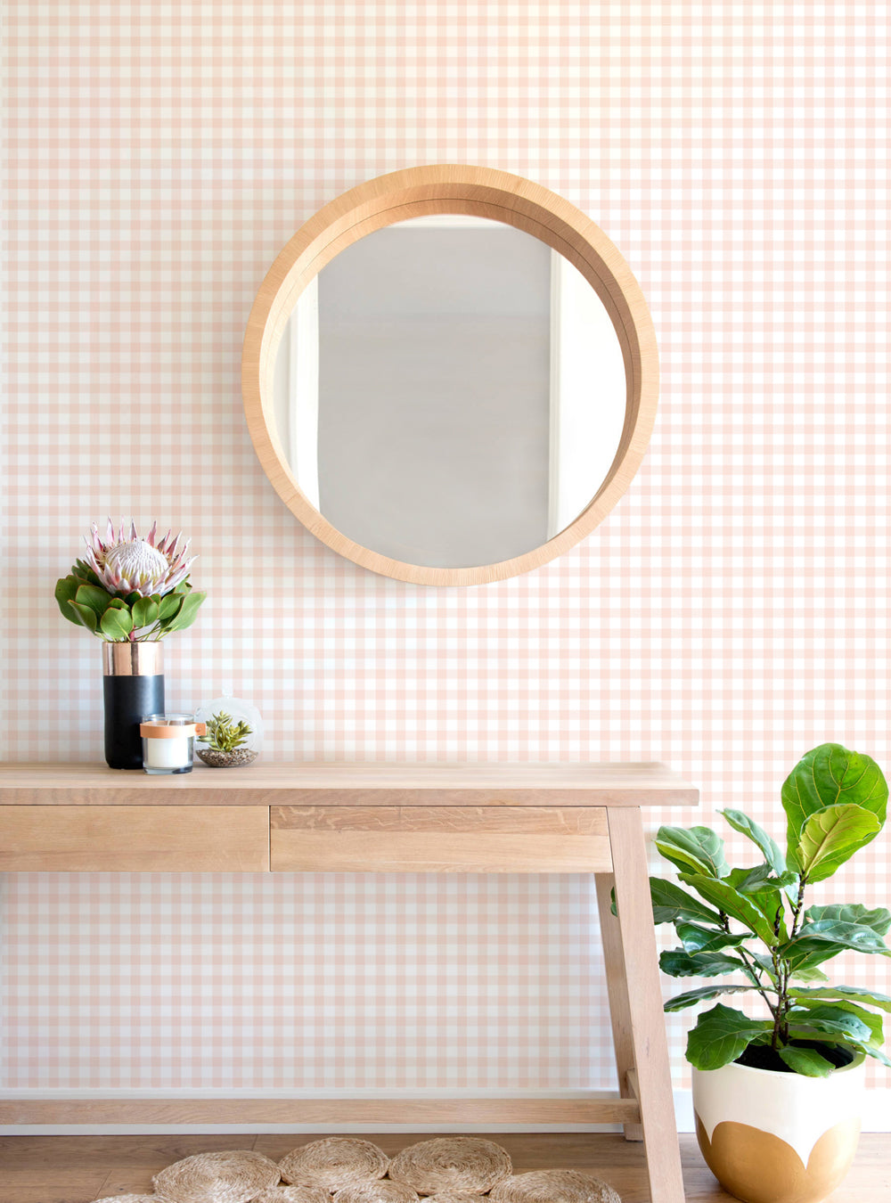 Gingham Check Pattern Wallpaper - Peel and Stick