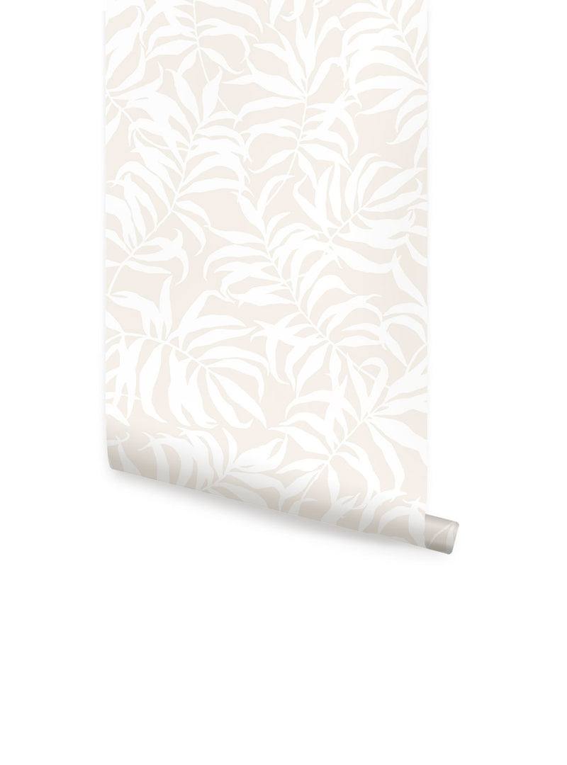 TROPICAL PALM LEAVES SOLID WALLPAPER - PEEL AND STICK
