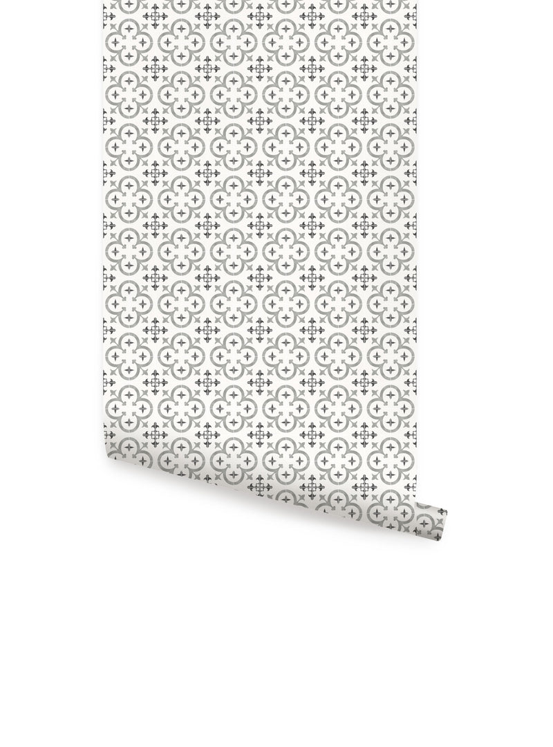 Flower Moroccan Tile Wallpaper - Peel and Stick