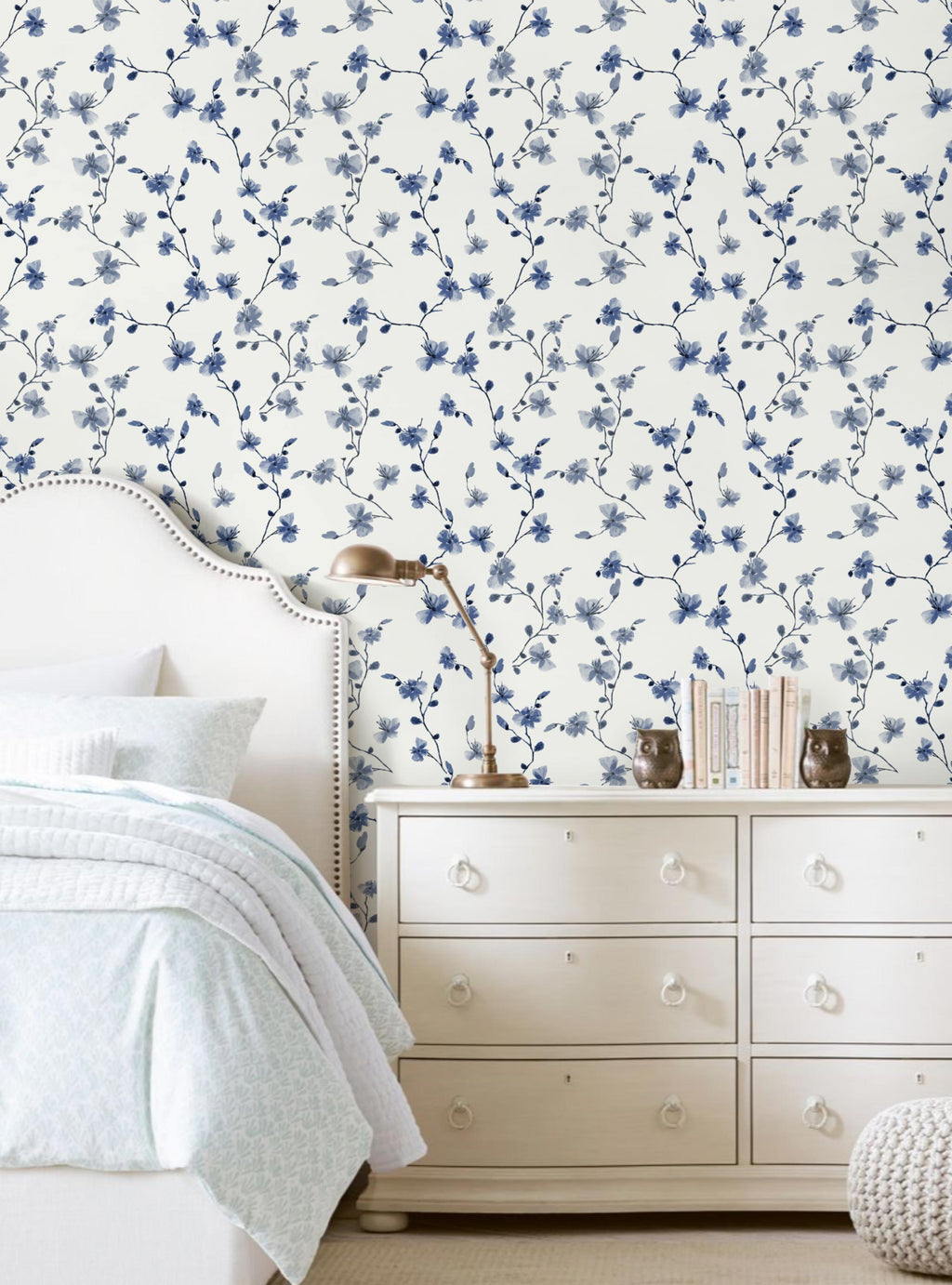 Blue Petal Climbing Flowers Wallpaper - Peel and Stick
