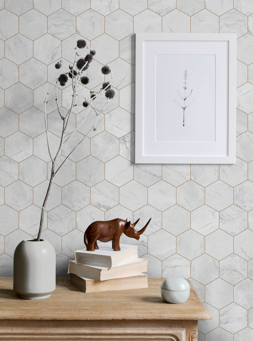 Hexagon Marble Large Wallpaper - Peel and Stick