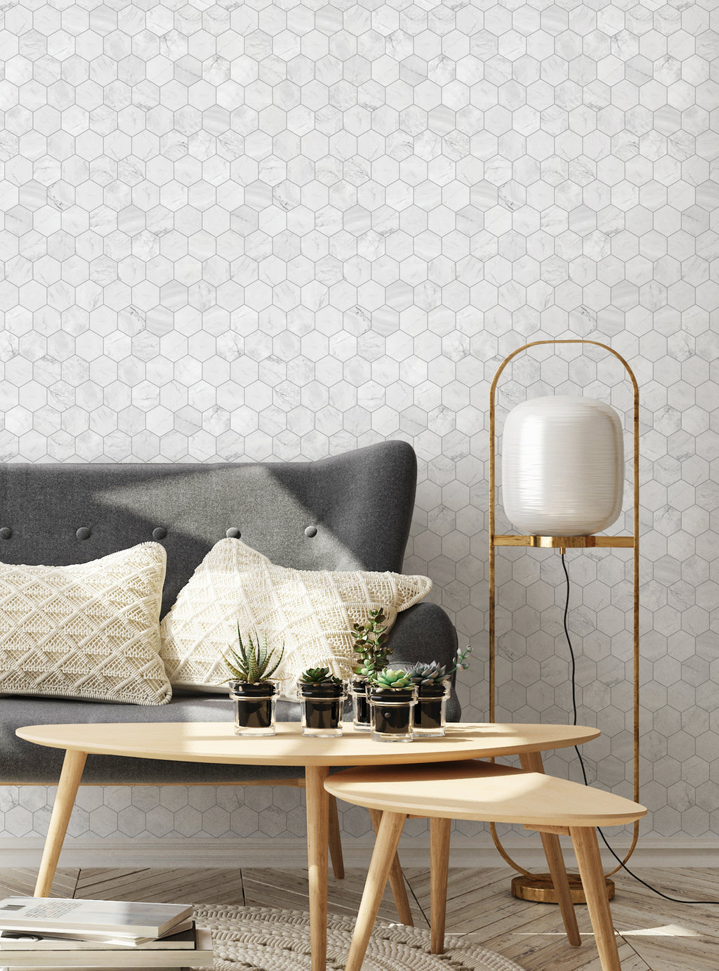 Hexagon Marble Small Wallpaper - Peel and Stick