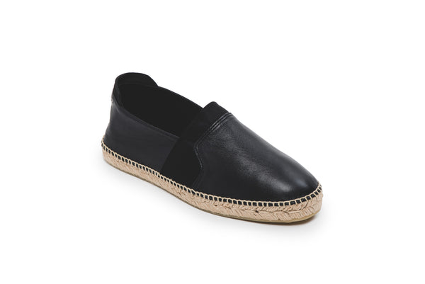 CR7 Alicante Black Leather Slip On Espadrille