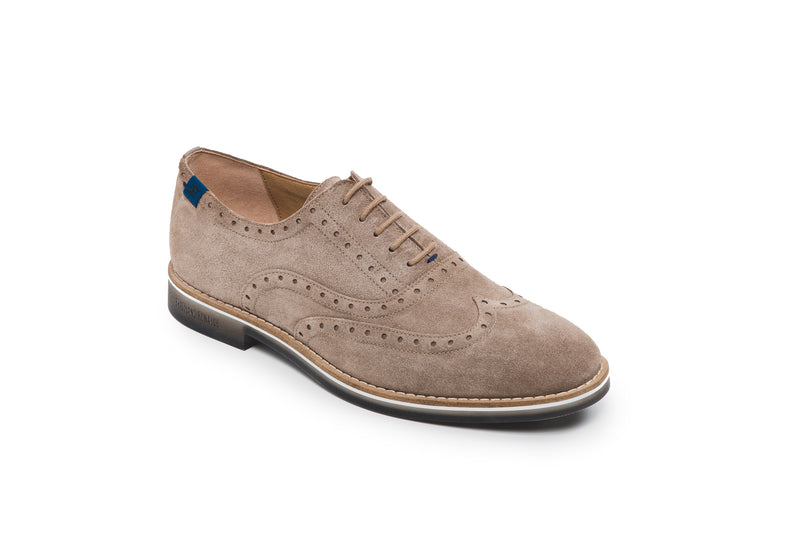 CR7 Braga Taupe Suede Lace Up Brogue