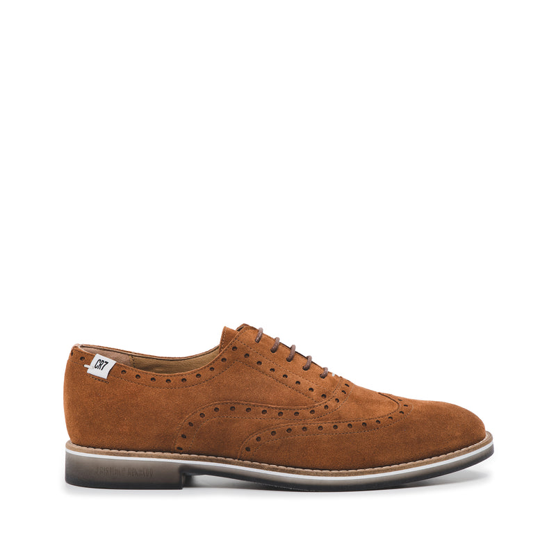 CR7 Braga Camel Suede Lace Up Brogue
