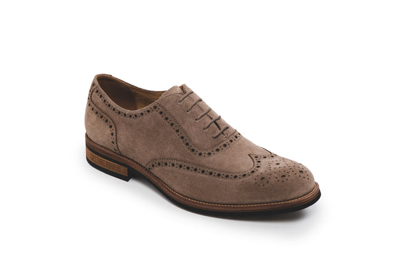 CR7 Bristol Taupe Suede Lace Up Brogue