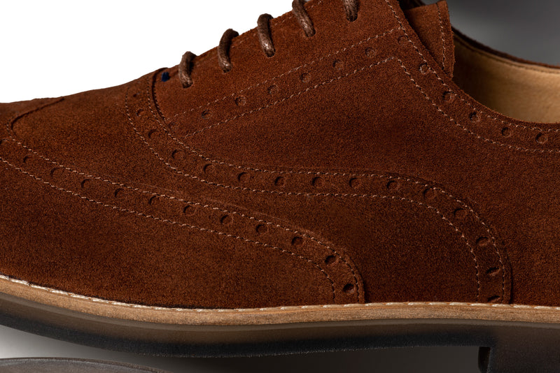 CR7 Braga Brown Suede Lace Up Brogue