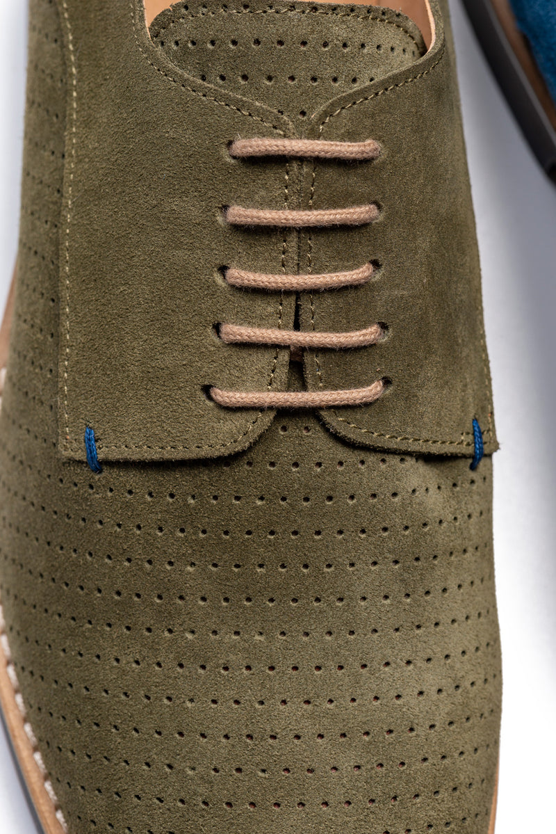 CR7 Lisbon Khaki Suede Lace Up Brogue