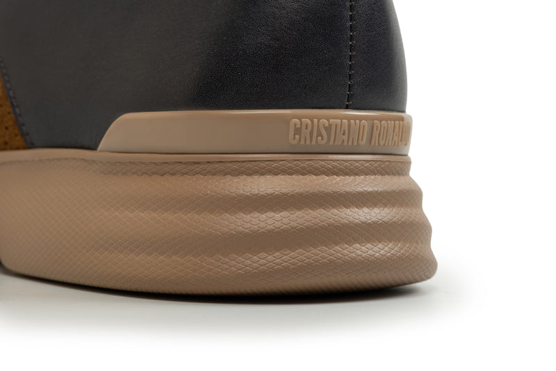 CR7 Siena Camel Leather and Suede Lace Up Derby