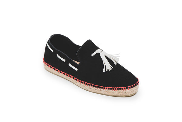 CR7 Granada Black Suede Slip On Espadrille