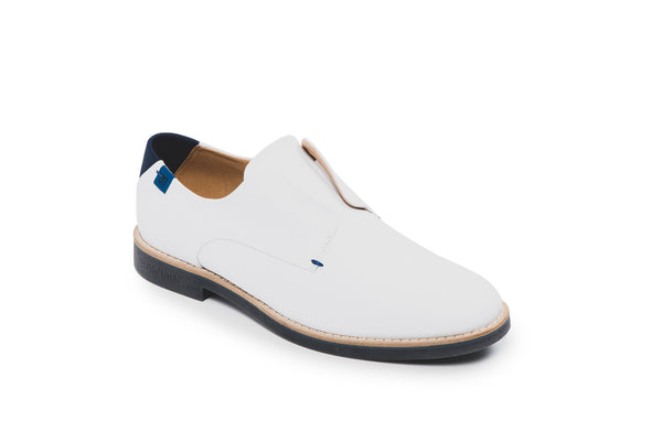 CR7 Lagos White Leather Laceless Derby