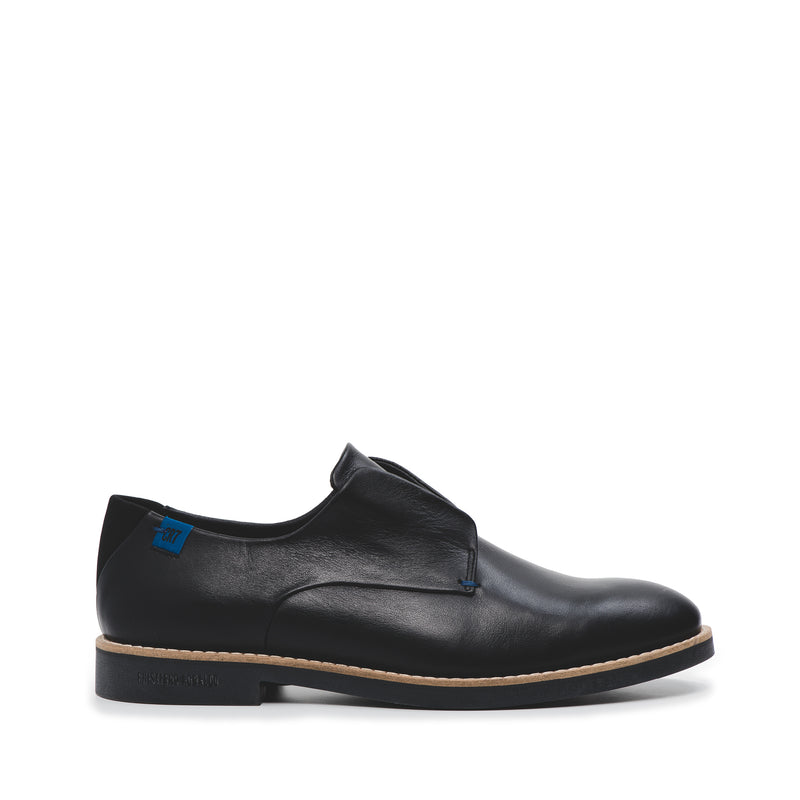 CR7 Lagos Black Leather Laceless Derby