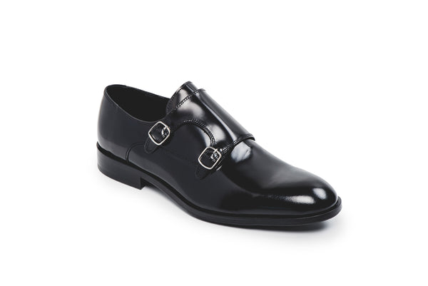 CR7 Machico Black Leather Double Monk