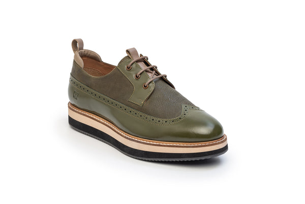 CR7 Miami Bottle Green Leather Lace up Derby