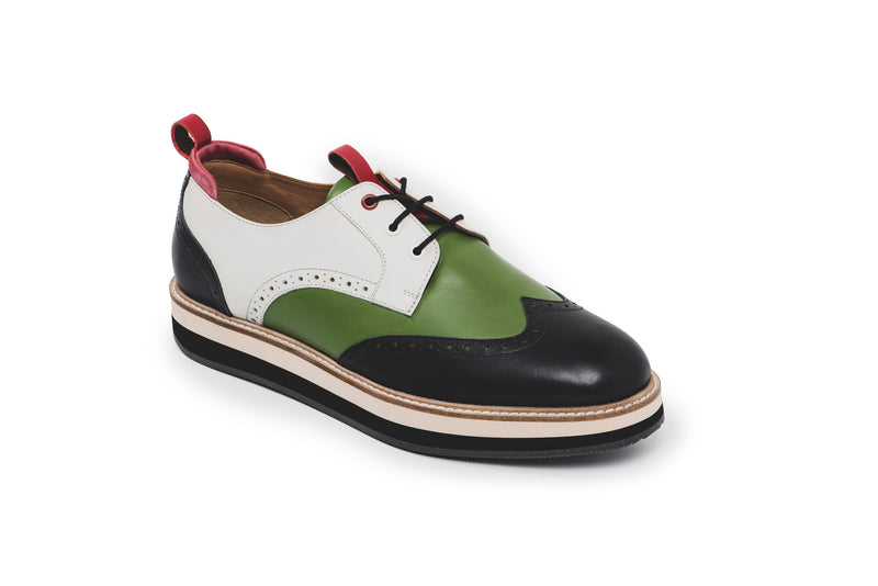 CR7 Chicago Green Leather Lace Up Derby