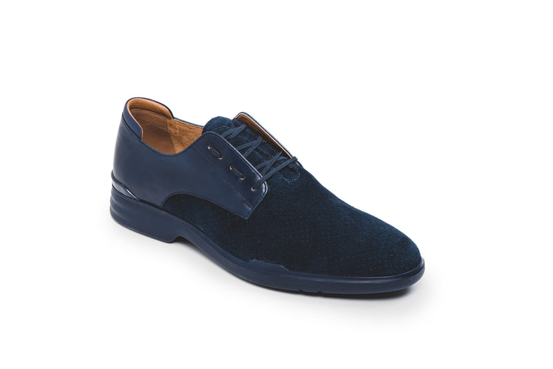 CR7 Siena Navy Leather and Suede Lace Up Derby
