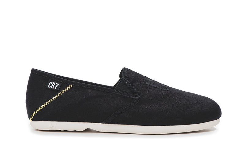 CR7 Salvador Black Canvas Slip On Espadrille