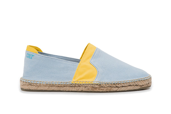 CR7 Alicante Baby Blue / Yellow Canvas Slip On Espadrille