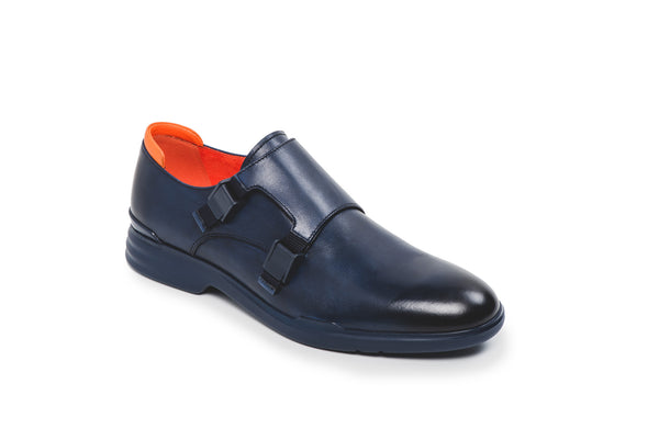 CR7 Turin Navy Leather Double Monk