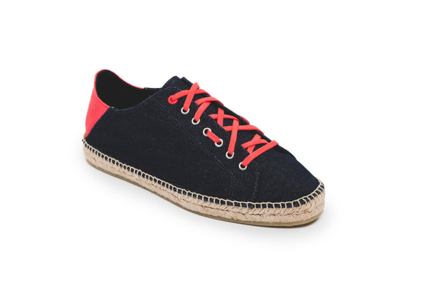 CR7 Valencia Navy Canvas Lace Up Espadrille