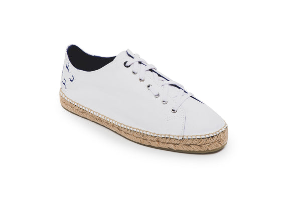 CR7 Valencia Offwhite Canvas Lace Up Espadrille