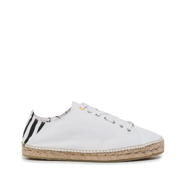 CR7 Valencia Stripes Off White Canvas Lace Up Espadrille