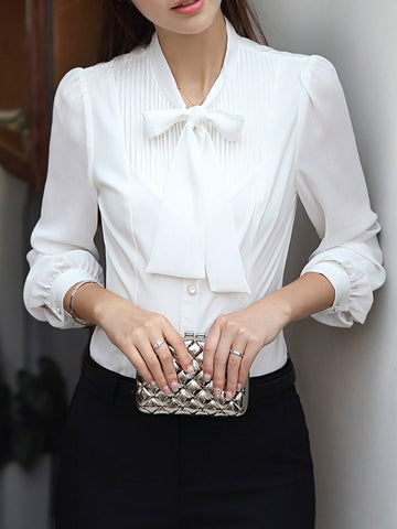 Sabrina - Petite fitted classic white prim shirt with slim bow - Filliae store